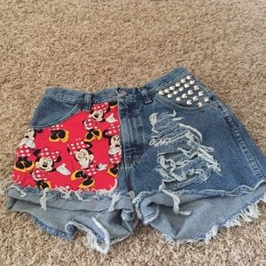 Other - Minnie Mouse Distressed Studded Shorts